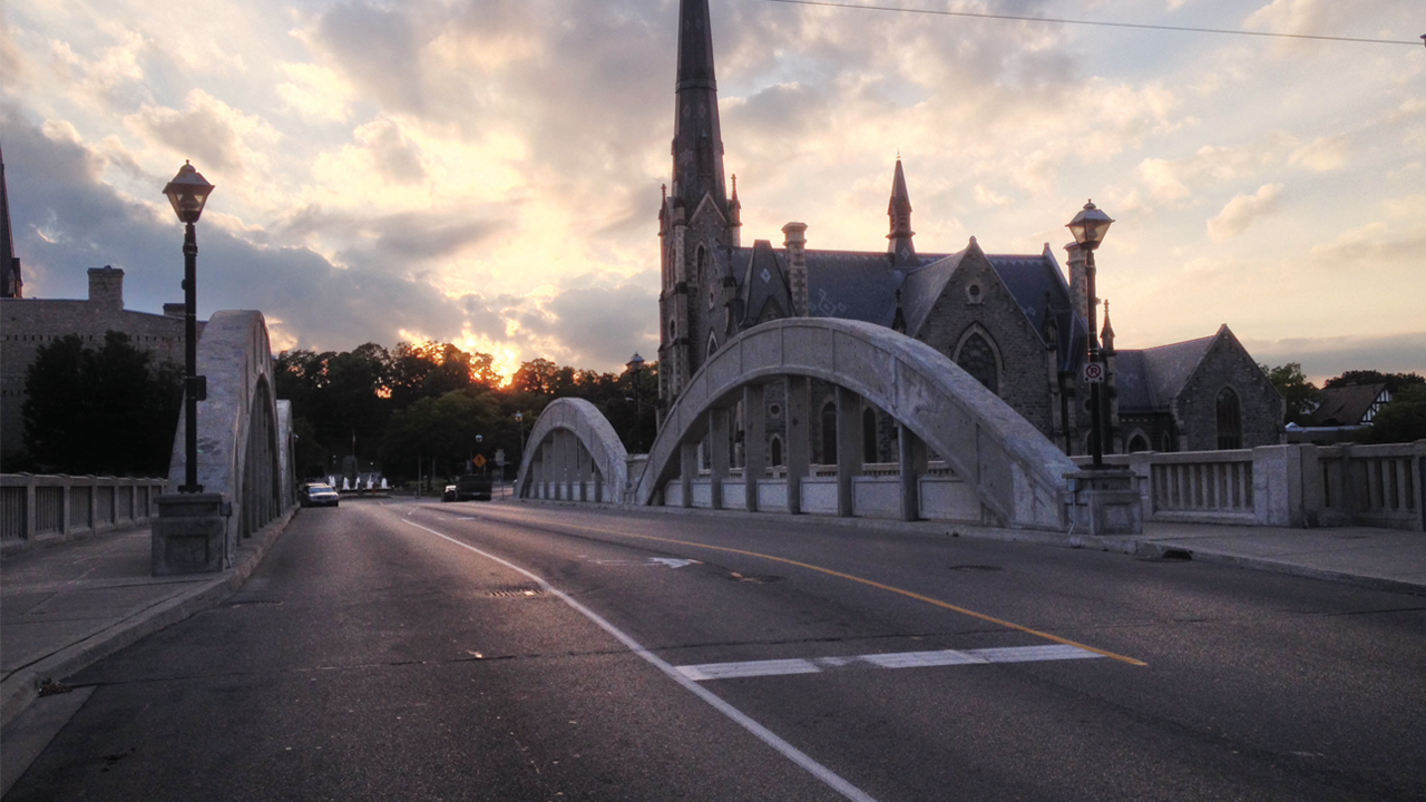Street view of bridge in Cambridge Ontario